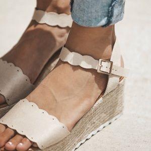 acf21e2aa83 Fabutiq Shoes - Espadrille Wedge Scalloped natural Sandal
